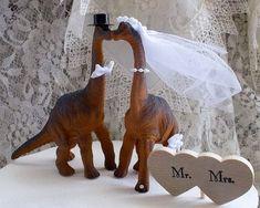 Dinosaur Wedding Cake Topper Rustic Wedding by MrandMrsCakeToppers