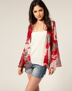 Oh My Love Chiffon Kimono Jacket With Fluted Sleeves