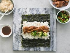 "This is an office favorite and a popular to-go lunch for GP. Since the nori gets soggy quickly (at Kye's they have come up with a very clever system to combat this problem), be sure to eat it right away or use romaine instead if you're packing it for lunch. Sucanat stands for ""SUcre de CAnne NATurel"" and is a minimally processed pure cane sugar with a high percentage of molasses. Look for it at any health food store or Whole Foods. If sucanat is not available, try using three tablespoons of…"