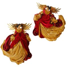 Flying Christmas Angels in Red and Gold set of 2