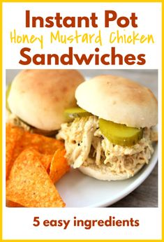 Instant Pot Honey Mustard Chicken Sandwiches Instant Pot Honey Mustard Chicken Sandwiches—tender shredded chicken coated with a honey mustard sauce and then served with pickles on top of freshly baked buns. Shredded Chicken Sandwiches, Chicken Sandwich Recipes, Shredded Chicken Recipes, Honey Mustard Sauce, Honey Mustard Chicken, Honey Garlic Chicken, Instant Pot Pressure Cooker, Pressure Cooker Recipes, Pressure Cooking