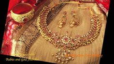 ruby and gold beads necklace from Aashiaanya Couture https://www.facebook.com/Aashiaanya Hyderabad