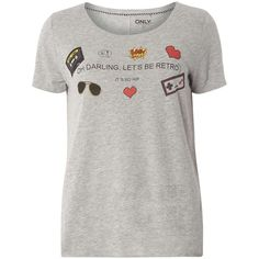 Dorothy Perkins **Only Grey City T-Shirt ($19) ❤ liked on Polyvore featuring tops, t-shirts, grey, grey t shirt, dorothy perkins, gray top, gray t shirt and gray tees