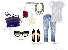 Perfect outfit idea for a fall day date. Boyfriend jeans, pointed asymmetrical black flats, eye-cat sunglasses, basic v-neck, seductive red nail polish, antique gold statement necklace and Kokay's Guatemalan Textile Handbag in Blue and Gold. #outfit #fall #kokay