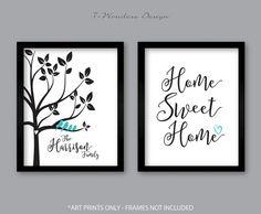 Personalized Family Art Prints, Family Tree Birds, Home Sweet Home, Home Decor Set of (2) 5x7, 8x10 or 11x14 Black - Choose Your Own Colors