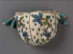 1725-1775 Round drawstring bag, strung glass beads (sablé), silk, bead-covered wood tassels, Museum of Fine Arts, Boston