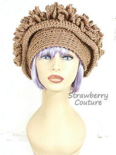 Crochet Hat Womens Hat Cloche Hat 1920s Womens Crochet Hat Steampunk Hat Toasted Almond Hat LINDA 1920s Cloche Hat Crochet Flower  by strawberrycouture by #strawberrycouture on #Etsy