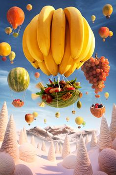 Paisajes comestibles | Paisajes comestibles - Yahoo Noticias España Food Humor, Bananas, Food Art, Food Food, Fruit Art, Fun Fruit, Carl Warner, Photomontage, Hot Air Balloon