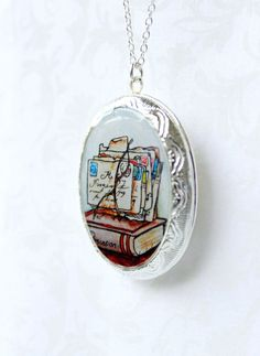 Persuasion -- Jane Austen Locket with love letters illustration. By Sarah-Lambert Cook ... http://www.sarahlambertcook.com/collections/lockets/products/persuasion-jane-austen-locket-silver-toned-ornate#