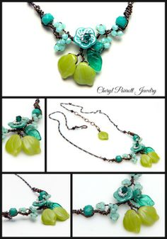 Green and Turquoise Flower Necklace from the Makenna Line at Cheryl Parrott Jewelry on Etsy. http://etsy.me/QJ6Auj
