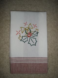 Christmas Embroidered Towel  Holly Jolly Holly by LynnsCozyQuilts, $8.99