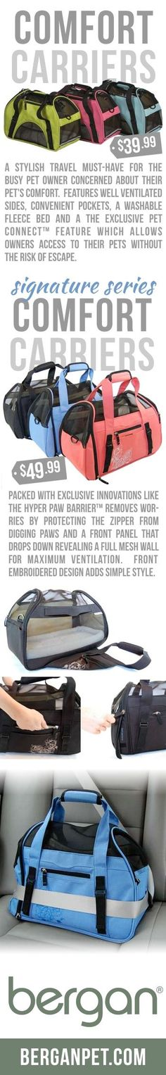 Comfort Carriers Allow for Convenient Pet Travel.  What dog or cat wouldn't love traveling in this? « Bergan Pet Products carriers starting at $39.99