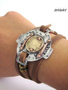 Free shipping, Mens Leather Bracelet, Leather bracelet,Womens leather bracelet,Cuff bracelet,Bengel bracelet.Wrap bracelet.Old Israeli coin