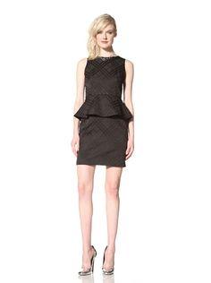 62% OFF Cynthia Steffe Women\'s Camille Plaid Jacquard Peplum Dress (Black)