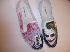The artwork is waterproof and permanent, and will last as long as the shoes do Converse, Vans, Hand Painted Shoes, Great Hairstyles, Playing Dress Up, Joker, Batman, Etsy, Book