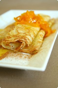 Cream cheese and Orange zest stuffed Crepes. Yummy
