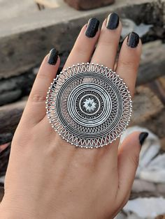 Afghani Jewelery,Afghani dual tone adjustable ring in high quality German Silver Silver Jewellery Indian, Ethnic Jewelry, Sterling Necklaces, Sterling Silver Jewelry, Silver Ring, Silver Earrings, Earrings Uk, Oxidized Silver, Silver Bracelets