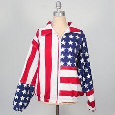 vintage cotton American flag print jacket / by dustyrosevintage, $50.00