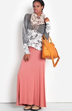 Ruched Maxi Skirt-i LOVE the long skirt and the scarf. i'm not sure about the baggie shirt...