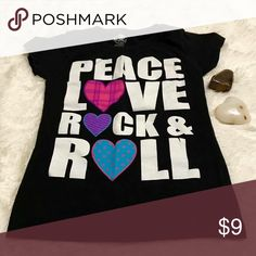 🎸 Girls Graphic Top Peace Love Rock&Roll 🎸 Girls Graphic Top Peace Love Rock&Roll  Route 66  Girls 10/12  All American girl painted graphic t shirt.   No Trades   #191 Route 66 Shirts & Tops Tees - Short Sleeve