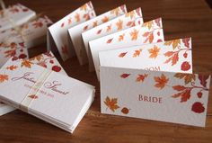 Color inspiration to surround the acorn stamp from Anytime Greetings with fall colored leaf stamps. These are Autumn Wedding Place Name Cards.