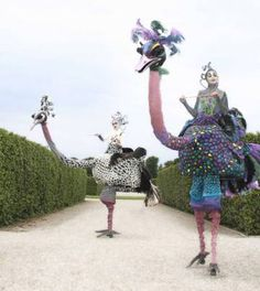 Ostrich stilt performers. Talents and Productions entertainment.
