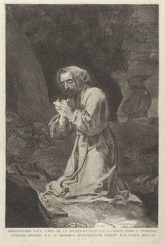 Met collection: Calude Mellan, St. Francis of Assisi, 1638 -  Dedicated to François de La Rochefoucauld