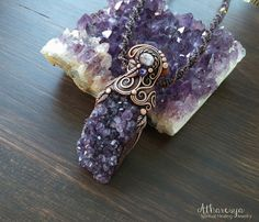 Necklace with Amethyst Druze and Rainbow Moonstone by Atharesya