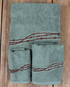 Barbwire Bathroom Towel 3 Piece Set - Turquoise :: Bathware :: Decor & Gifts :: Fort Western Online