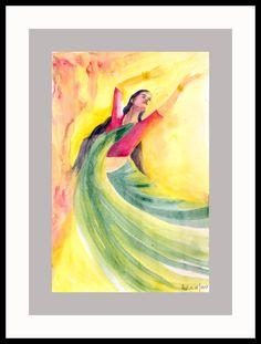Original Dance of Abandon Frenzy dancer Wall Art Wall Decor Watercolor beautiful dancer Original art Red beautiful dancer by ArtbyAshaa on Etsy