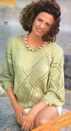 Зелёный пуловер с ажурными ромбами спицами. Обсуждение на LiveInternet - Российский Сервис Онлайн-Дневников