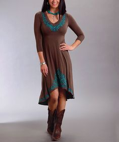 Another great find on #zulily! Brown & Blue Embroidered Hi-Low Dress - Women by Stetson #zulilyfinds