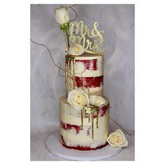 Red Velvet Semi Naked Gold Drip Wedding Cake with Roses