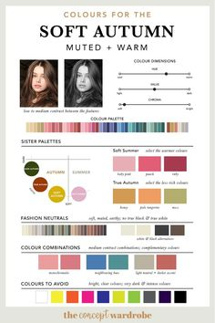 Colours for the Soft Autumn type - Haar farben Summer Colors, Warm Colors, Soft Autumn Color Palette, Autumn Colours, Soft Autumn Makeup, Light Spring Palette, Color Type, Tumble N Dry, Seasonal Color Analysis