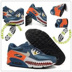 the latest 397d8 da98f Montante   Nike Chaussure Sport Air Max 90 2016 Femme Piranha 3D Bleu  Orange Air Max