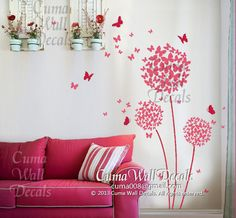 wall decal butterfly and  flower  Vinyl wall decal girl decal Nursery wall decal children- dandelion Z206 by cuma wall decals on Etsy, $39.00