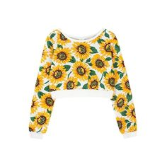 Daisy Print Cropped Sweatshirt ($25) ❤ liked on Polyvore featuring tops, hoodies, sweatshirts, shirts, sweaters, crop tops, cut-out crop tops, crop top, daisy top and crop shirt