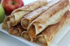 Looking for a delicious treat to enjoy after a long day?  These Easy Caramel Apple Taquitos are amazing and definitely put a twist on dessert! Dessert is my favorite part of the day and not a day goes by that I don't enjoy a delicious sweet treat I whipped up in the kitchen with my kids. … Apple Recipes, Sweet Recipes, Yummy Recipes, Mexican Food Recipes, Dessert Recipes, Dessert Dishes, Brunch Recipes, Taquitos Recipe, Just Desserts