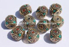 10 beads - Tibetan Cube Beads with Brass Circle, Studs, Turquoise & Coral Inlays - Ethnic Nepal Tibetan Beads - B1992-10