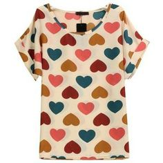 White Short Sleeve Hearts Print Chiffon Blouse