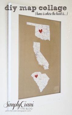 DIY map collage cut state shapes decoupage to any recycled items