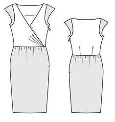Burda 2014/01 [107] - Le haut de la robe est un cache-cœur délicat en soie lavée, orné de minimancherons, la jupe légèrement bouffante est en broderie ruban de mousseline évoquant un parterre de roses. T34-42