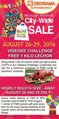 Instant prizes to be given away staring today until August Bring home 1 kilo lechon by simply joining our Videoke Challenge. Lechon, Bring It On, Challenge, Make It Yourself, Money, Health, Gift, Shopping, Food