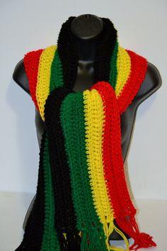 READY TO SHIP. Crochet Rasta Scarf. Bob Marley by Africancrab, $38.00