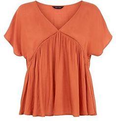 Womens peach orange orange v neck smock top from New Look - £17.99 at ClothingByColour.com
