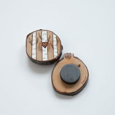 Tiny heart on birch tree wood slice magnet. by ForageWorkshop
