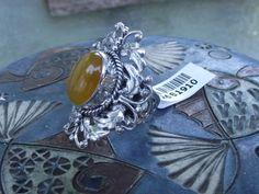 Stunning Burmese Yellow Jade Bali Legacy Sterling Silver Ring. Size 6 #STSGems #Statement