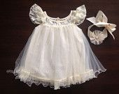 baptism tunic dress and sash, flower girl ivory cream dress, cream lace dress, baptism dress, christening gown, tunic dress