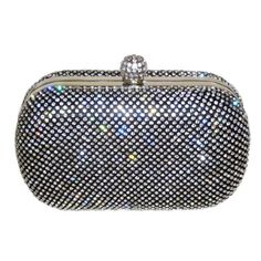 Evening Bags Glamour Crystal Pave Hard Case Clutch With Detachable Chains Black