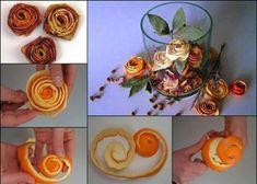 Arreglo floral con cáscaras de naranja. Un precioso detalle decorativo en forma de rosas que, además, aromatiza la casa.